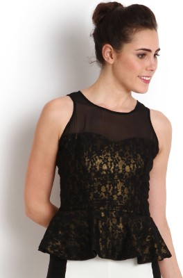 Soie Party Sleeveless Self Design Women's Black Top at flipkart