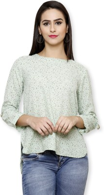 Pear Blossom Casual 3/4 Sleeve Floral Print Women's Light Green, Green, Multicolor Top