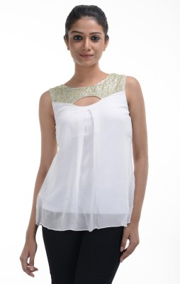 No Code Party Sleeveless Embroidered Women's White Top
