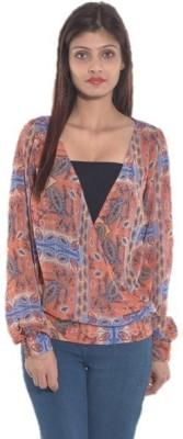 Entease Casual Full Sleeve Printed Women's Orange Top