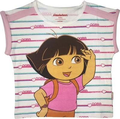 Dora Casual Short Sleeve Printed Girl's White Top