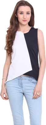 Ridress Casual Sleeveless Solid Women's White, Dark Blue Top