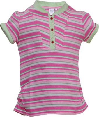 Most Wanted Casual Short Sleeve Striped, Embellished Girl's Multicolor Top