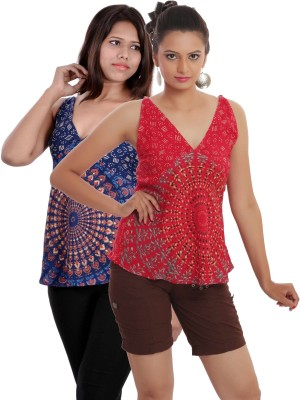 Indi Bargain Casual, Party, Formal, Beach Wear Sleeveless Printed, Floral Print Women's Red, Dark Blue Top