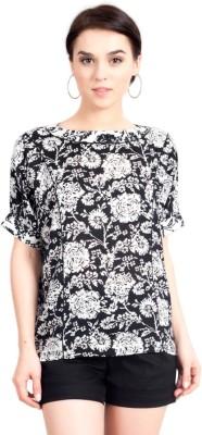 Vivante by VSA Casual Short Sleeve Printed Women's Black Top