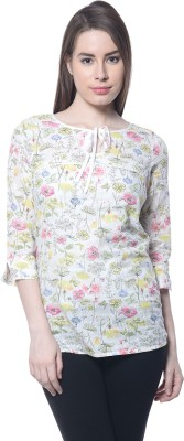 Florrie Fusion Casual 3/4 Sleeve Floral Print Women's Pink Top