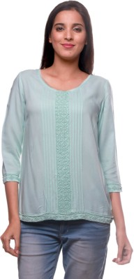 La Divyyu Party 3/4 Sleeve Solid Women's Light Green Top