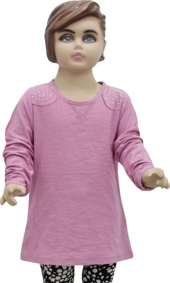 Urban Forest Casual Full Sleeve Embellished Girl,s Pink Top