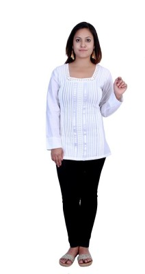 Indicot Casual, Party Full Sleeve Solid Women's White Top