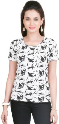 Big Tree Casual Short Sleeve Printed Women's White Top