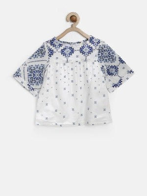 Yk Casual 3/4 Sleeve Printed Girl's White Top