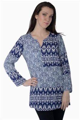 Miway Casual Full Sleeve Printed Women's Blue Top