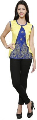 Sea Lion Casual Sleeveless Printed Women's Yellow, Blue Top