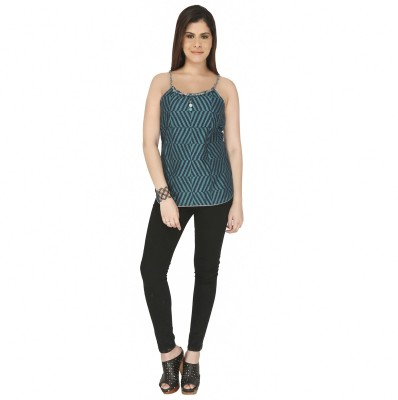 Free Spirited Casual Sleeveless Printed Women's Green Top