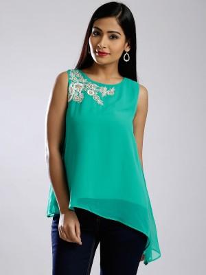 Anouk Casual Sleeveless Solid Women's Dark Green Top