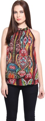 Hook & Eye Casual Sleeveless Printed Women's Multicolor Top