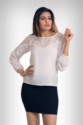 Feathers Closet Casual Full Sleeve Self Design Girl's White Top