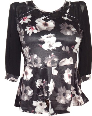 Forever 18 Casual 3/4 Sleeve Printed Women's Black Top