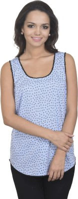 Antilia Femme Casual Sleeveless Printed Women's Blue Top