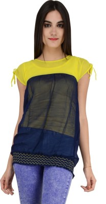Terquois Casual Cap sleeve Solid Women's Yellow Top