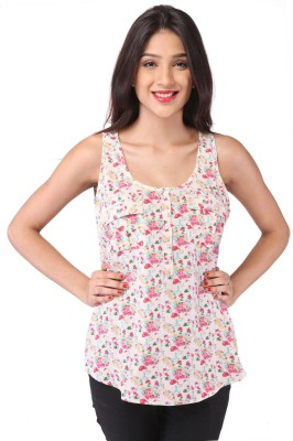 Purys Casual Sleeveless Floral Print Women's Pink Top