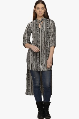 Fugue Casual 3/4th Sleeve Printed Women's Black Top at flipkart