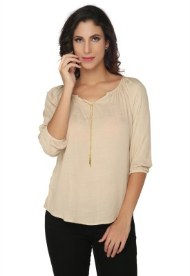 Philigree Casual 3/4 Sleeve Solid Women,s Brown Top
