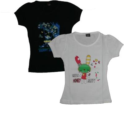 T2F Formal Petal sleeve Printed Girl's Black, White Top