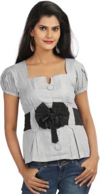 Chic Unique Formal Short Sleeve Striped Women's Black Top