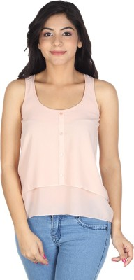 So Urban Casual Sleeveless Solid Women's Orange Top