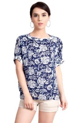 Vivante by VSA Casual Short Sleeve Printed Women's Dark Blue Top