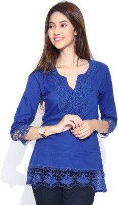 U&F Casual 3/4th Sleeve Solid Women's Blue Top at flipkart