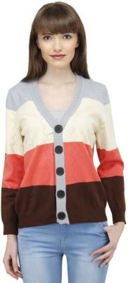 Camey Casual Full Sleeve Striped Women's Orange Top