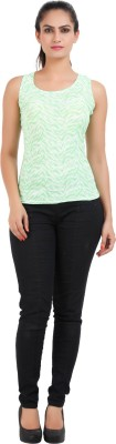 Prnas Casual Sleeveless Printed Women's Light Green Top