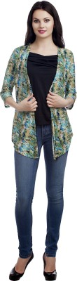 MansiCollections Casual Full Sleeve Printed Women's Multicolor, Black Top