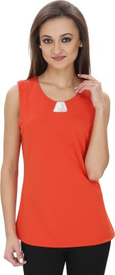 Svt Ada Collections Casual Sleeveless Solid Women's Orange Top