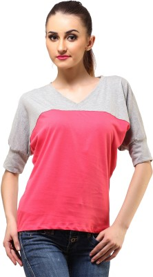 Cation Casual Short Sleeve Solid Women's Grey, Pink Top at flipkart