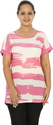 Mamma Mia Casual Short Sleeve Striped Women's Pink Top