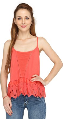Pepperika Casual Sleeveless Solid Women's Red Top