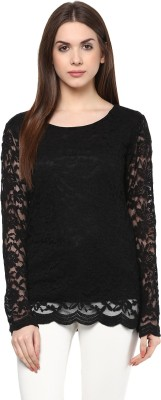 color cocktail Casual Full Sleeve Self Design Women's Black Top
