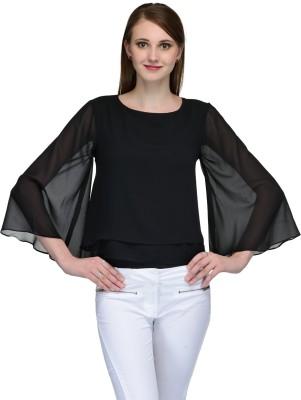 Natty India Casual Kimono Sleeve Solid Women's Black Top