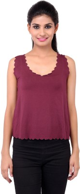 Zachi Casual Sleeveless Solid Women's Maroon Top