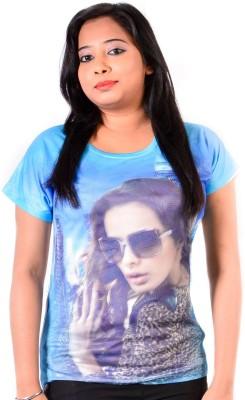 Glimmerra Casual, Sports, Beach Wear Short Sleeve Graphic Print Girl's Light Blue Top