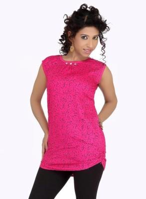 Uzee Casual Short Sleeve Self Design Women's Pink Top