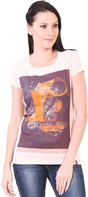 Oner Casual Short Sleeve Printed Women's Orange Top