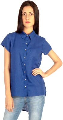 MIST ISLAND Casual Short Sleeve Solid Women's Blue Top