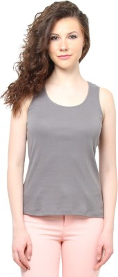 Moderno Casual Sleeveless Solid Women's Grey Top