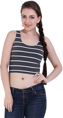 Rat Trap Casual Sleeveless Striped Women's Grey, White Top