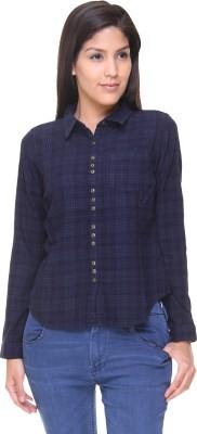 Alibi By Inmark Casual Full Sleeve Solid Women,s Dark Blue Top