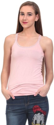 Claude 9 Casual Sleeveless Solid Women's Pink Top